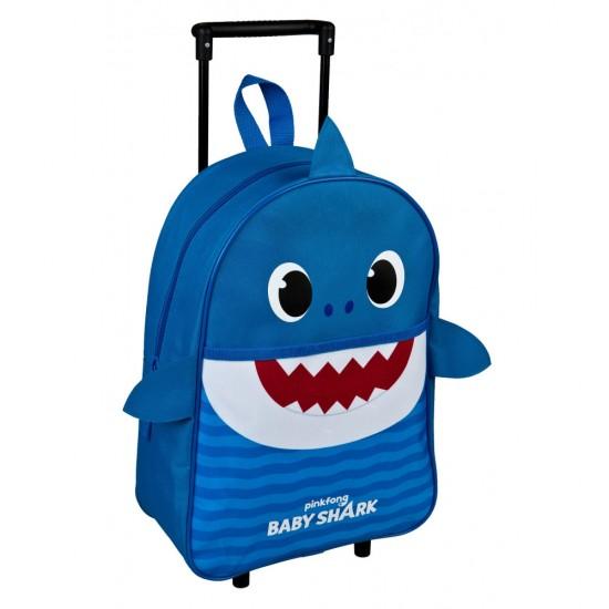 Bébi cápa gurulós táska, kék 40 cm