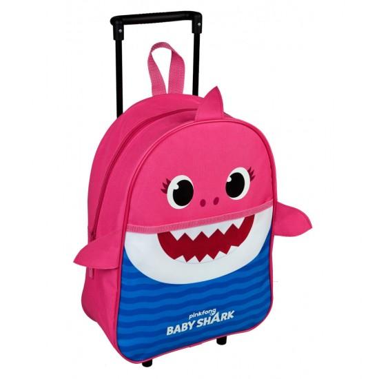 Bébi cápa gurulós táska, rózsaszín 40 cm